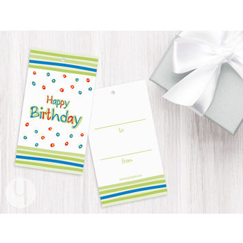 Birthday Stripes Gift Tags (Set of 12)