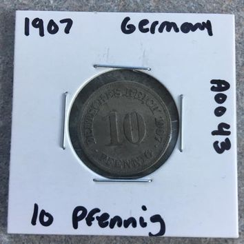 1907 German Empire 10 Pfennig Coin A0043