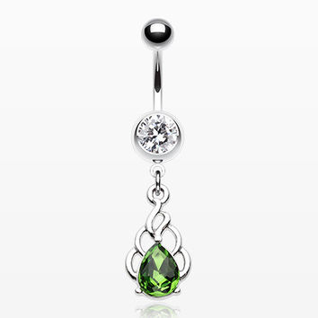 Royal Fiery Emerald Sparkle Belly Button Ring