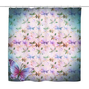 Multi Colored Butterflies Shower Curtain