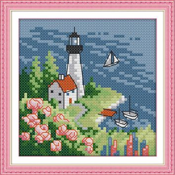 Lighthouse (3) Crafts Sewing Cross Stitch Kits DMC 11CT Printed Embroidery 14CT DIY Handmade Needle Work Wall Home Decor