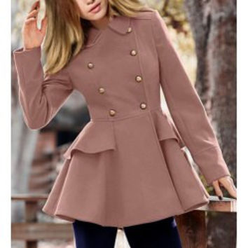 Elegant Peter Pan Collar Solid Color Buttoned Waist Flounce Wool Coat For Women