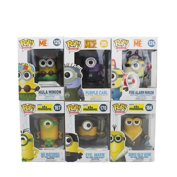 Funko Pop 6Color Minion 2015 Kevin Vinyl Natural Hula puprle carl Fire alarm matie minion  Figure Toys PVC Doll Collection Toys