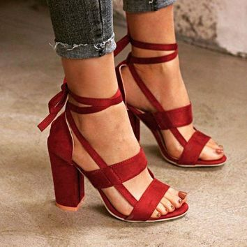Fashion Womens Ladies High Block Heel Open Peep Toe Lace Up Sandals Party Shoes