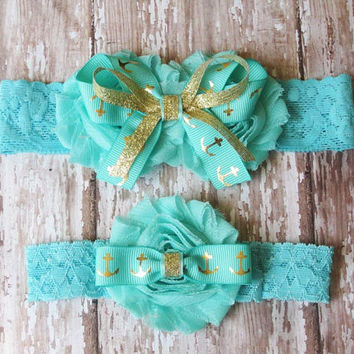 Anchor Wedding Garter Set | Something Blue Gold Anchors Wedding Garters...Bridal Garter and Toss Garter