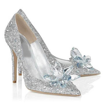 2016 Sexy Women Silver Rhinestone Wedding Shoes Pumps High Heels Crystal Shoes Artificial PU Leather Shoes