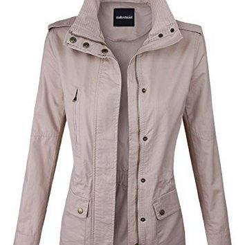 makeitmint Women's Zip Up Military Anorak Jacket w/ Pockets Large YJZ0005_BLUSH