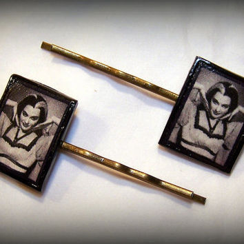 Handmade Polymer Clay Lily Munster Yvonne DeCarlo Antique Bronze Bobby Pins Set