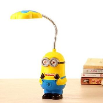 New Baby Boys Girls Despicable Me Flexible Table Lamp Kids Cute Minions Folding Mini Lamps Children LED Eyeshield Night Light