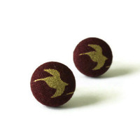 Hunger Games Inspired Gold Bird Silhouette Fabric Covered Button Earrings