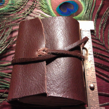 "Hand Bound, Leather Book, Fully Functional, Blank Pages waiting for your notes,Strap holds securely closed,2.25""x 2.75"", made in USA by me"