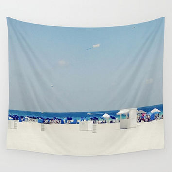 White Sand Beach Wall Tapestry South Beach Wall Tapestry Blue Umbrella Wall Tapestry Beachfront Wall Tapestry Cabana Picnic Blanket Beach