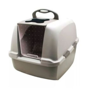 Catit Jumbo Hooded Cat Litter Pan - Warm Gray Provides your cat with privacy