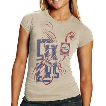 Philadelphia 76ers Ladies Cream Graffiti Script Premium Slub T-shirt