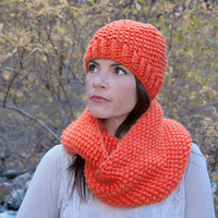 Chunky knit infinity scarf, circle scarf, cowl, hood, orange acrylic yarn