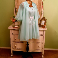 Mint Cupcake Nightie Set, Princess Baby Doll, Chic Shabby Lingerie, Vintage Nightgown Set, Pin Up Lingerie, Wedding Bridal Peignoir, Sz S/M