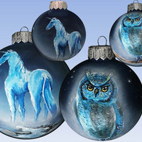 Christmas Ornament Bauble Painted Harry Potter Christmas ball Owl or Unicorn Horn Glass New year Christmas Craft Gift Rolling CUSTOM ORDER