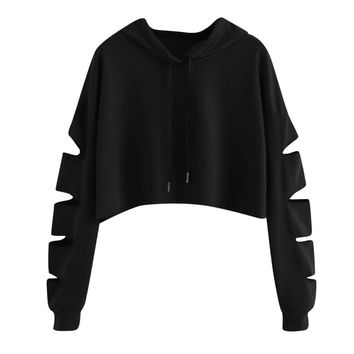 ISHOWTIENDA Fashion cropped hoodie Woman clothes Tops and Blouses Solid High Neck Drawstring Crop sweatshirts moletom feminino