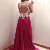 Wine Red V-neck Backless Lace Straps Stitching Chiffon Evening Maxi Gown Dress Open Back