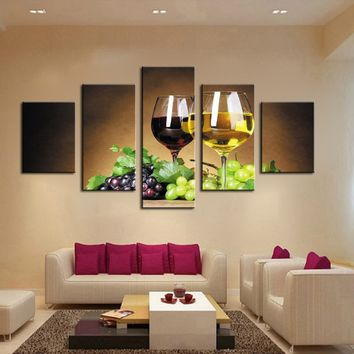 Home Decoration 5 Piece Wine Cups Pictures Canvas Oil Painting on Wall Art for Living Room Print Decor Personalized Gift  (no Fr