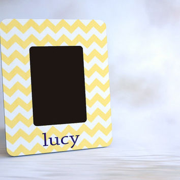 Personalized Picture Frame for Baby Shower or Gift - Yellow Chevron