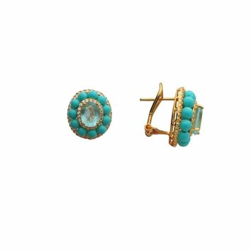 Ocean Drive Turquoise & Paraiba CZ Omega Clip Earrings in Gold Plated Silver by Fronay Co.