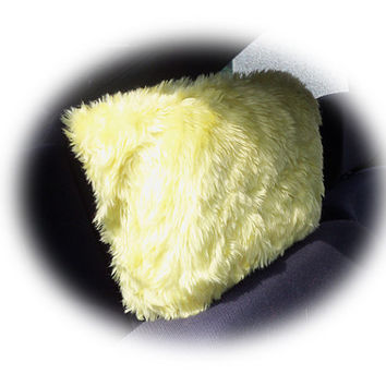 headrest covers yellow bright sunny car seat faux fur furry fluffy fuzzy car 1 pair cute citrus lemon happy sunshine summer