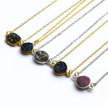 Petite Drusy Necklace - Druzy Crystal Necklace - Layering Necklace - Titanium Druzy Necklace - Gold or Silver Necklace - Bohemian Necklace