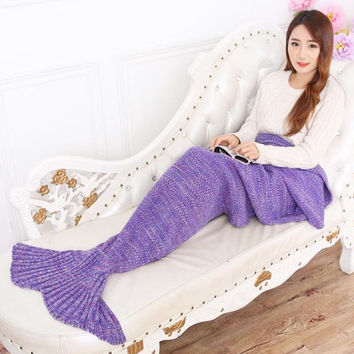 Yarn Knitted Mermaid Tail Blanket Handmade Crochet Mermaid Blanket Kids Throw Bed Wrap Super Soft Sleeping Bed