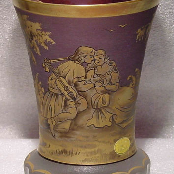 365109 Amethyst Cased Glass Romance Pattern Man & Woman, Gold Rim & Lines On Satin Base, 15 Cuts On Base