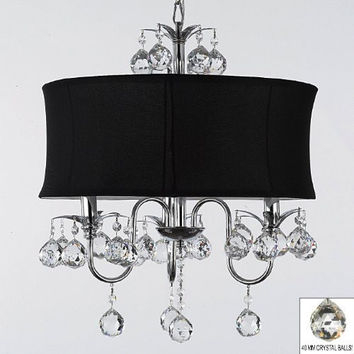 "Modern Contemporary Black Drum Shade & Crystal Ceiling Chandelier Pendant Lighting Fixture W 18"" H 22"" - A7-B6/BLACK/834/3"
