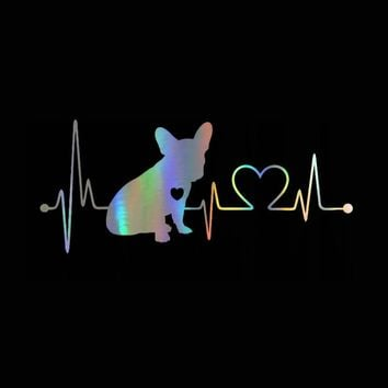 Car Sticker 3D 18*7.7cm French Bulldog Heartbeat Bumper Sticker On Car Funny Stickers and Decals Vinyl Decor Car Styling