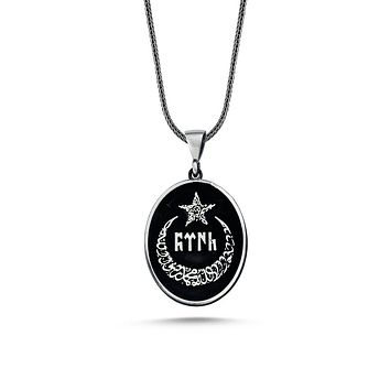 Crescent star with calligraphy pendant 925k sterling silver necklaces with chain