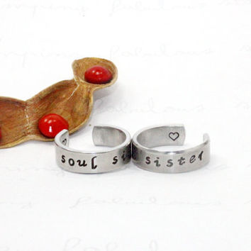 Soul Sister Ring Set, Stamped Aluminum Matching Pair Rings, Sisters, Best friends, BFF Gift Ring