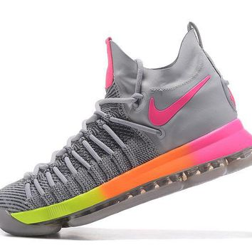 auguau Nike Men's Durant Zoom KD 9 Flyknit Mid-High Basketball Shoes Grey Pink 40-46