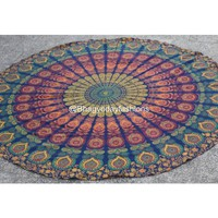 Multicolor Peacock Mandala Tapestry Roundie Table cloth