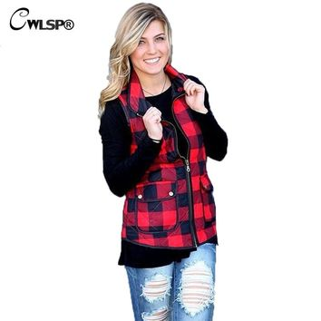CWLSP High Quality Womens Vest Jacket  Autumn Winter Red Plaid Pocket Waistcoat Ladies Fashion Cotton Vest Coat QZ1850