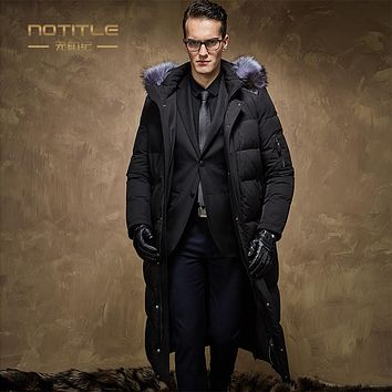 High quality Men white goose down coat men business over-the-knee long design winter down jacket with a hood large fur collar