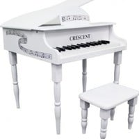DirectlyCheap Petite 30 Keys Kids Baby White Grand Piano with Matching Bench & Sheet Music Stand & DirectlyCheap(TM) Blue Medium Pick