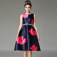 Rhinestone Decor Floral Print  Sleeveless A-Line Dress