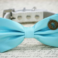 Blue Dog Bow Tie collar, You are my special Angel charm, dog birthday, blue wedding