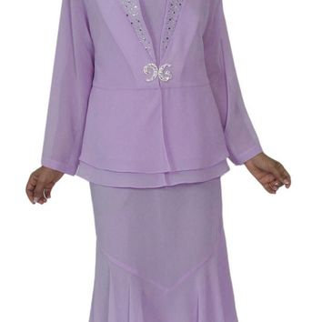 Hosanna 5144 Plus Size 3 Piece Set Lilac Tea Length Dress