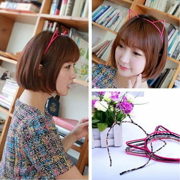 New Women Lady Girls Novelty Cute Simple Multicolor Cat Ears Headband Hair Head Band Party Gift