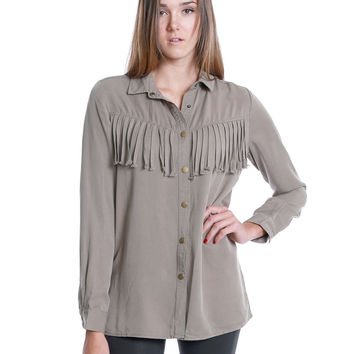 Snatch Fringe Shirt- Olive