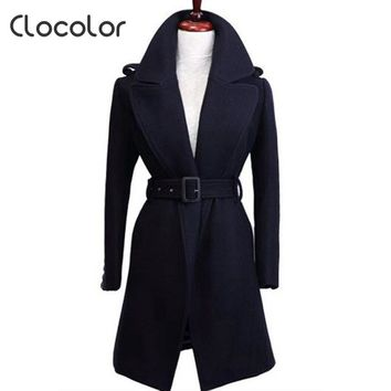 Clocolor  trench coat women Autumn Winter New long Dark Blue Women Turn Down Collar A Line Jacket Female Sashes Ladies Outwear