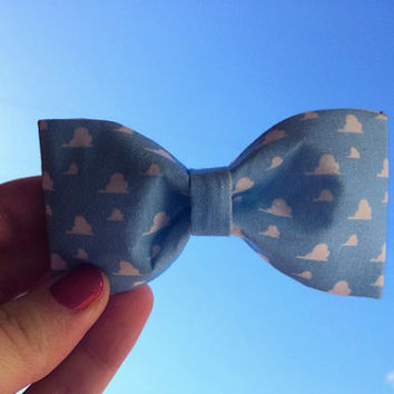 Andy's Room Wallpaper Sky Clouds Toy Story Hair Bow or Bow Tie Inspired Disney Pixar Geeky Fabric Bow