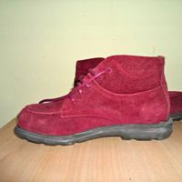 vintage Oxblood suede Ankle Boots, Cranberry Hiking boots, Lands End, perfect condition deadstock