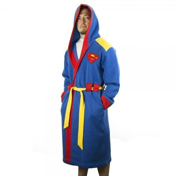 Superman Symbol Men's Hooded Bath Robe with Belt (S/M)