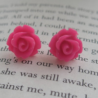 Pink rose earrings- Pink flower earrings- Rose earrings- Rose earrings- Hot pink roses- Hot pink- Fashion- Feminine-Spring Accessory