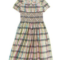 Short-Sleeve Taffeta Multi-Plaid Smocked Dress - Brooks Brothers